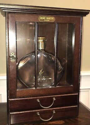 Remy Martin Mahogany Wall Curio With 2 Remy Cognac Glasses And Empty Remy Extra
