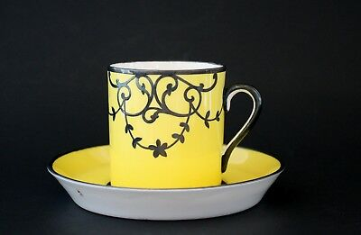TUSCAN yellow black Demitasse Cup & Saucer Made in England
