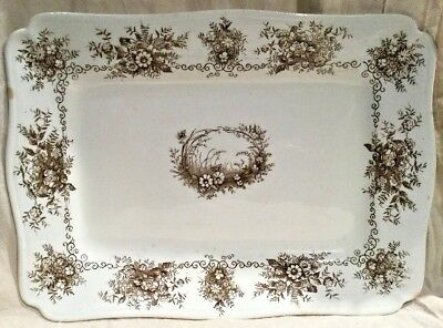 Antique Victorian Brown Transferware Platter Exeter Pattern By Henry Alcock