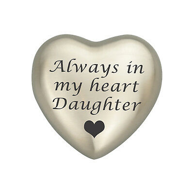 Always In My Heart Daughter Silver Heart Urn Keepsake for Ashes Cremation