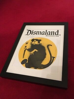 Banksy Dismaland Programme With Spray painted Rat - Framed