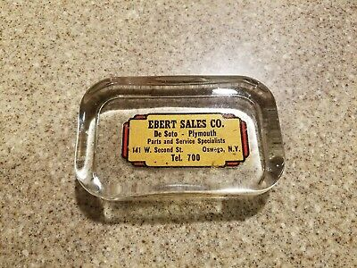 Vintage Desoto Plymouth advertising glass paperweight. Ebert Sales Oswego NY