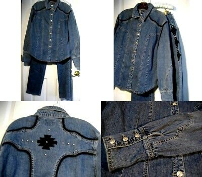 Woman's Western Ethic 2pc Blue Denim Western Outfit w/ Black/Bling Accent - XL