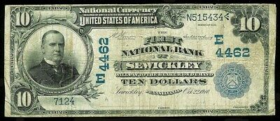 1902 $10 PLAIN BACK 1st NATIONAL BANK SEWICKLEY, PA NOTE 12 LARGE KNOWN #4462