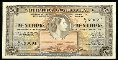 1957 BERMUDA FIVE SHILLINGS QUEEN ELIZABETH II NOTE KP# 18b