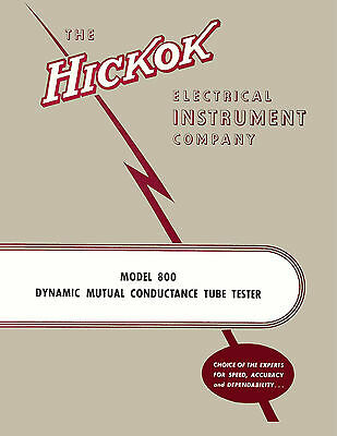 Operator's Manual: Hickok 800 Tube Tester