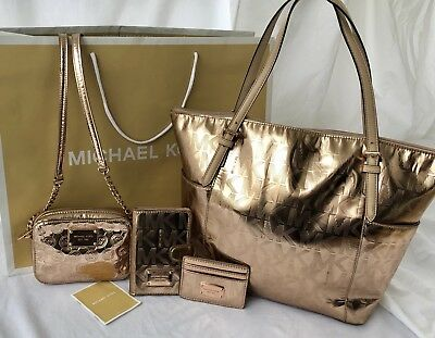 Michael Kors Rose Gold Tote, Crossbody Purse, Fold Wallet & Cc Holder Purse