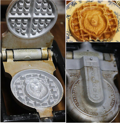VTG Carbon Rugged I Buchanan Cast Iron Commercial Malted Waffle Maker  LION Rare