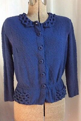 Vintage 40's Or 50's Wool Knit 3/4 Sleeve Button Up Sweater By Kimberly