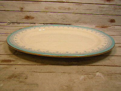 * Vintage T.C. Brown Westhead Moore Oval Platter 18 Inches Long Blue on White