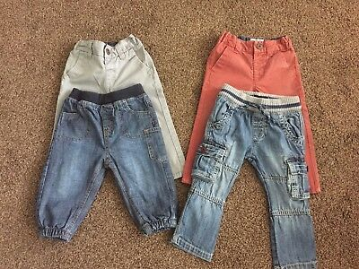4 X Pairs Of Boys Jeans & Chinos Size 6-9 Months From Next
