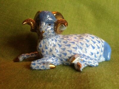 "Herend ""Carolina Blue"" Ram in blue fishnet pattern."