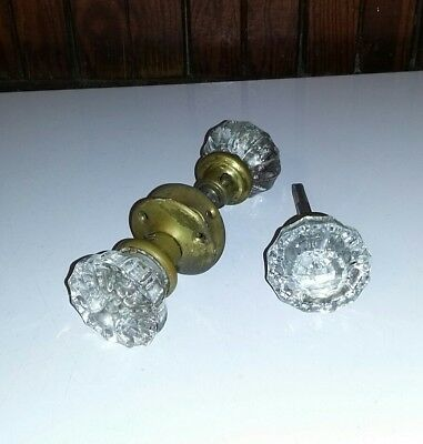 Antique Clear Glass Crystal Door Knob Vintage Brass