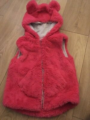 NEXT girls fluffy pink bodywarmer gilet with bunny ears on hood age 4-5 exc cond