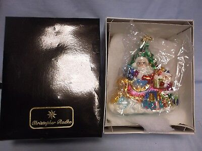 "Vintage Christopher Radko Santa Tree & Sleigh ""trim A Tree O"" Ornament Iob Qvc"