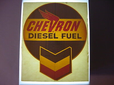 Vintage NOS Original Chevron Diesel Fuel Gasoline Pump Water Transfer Decal Sign