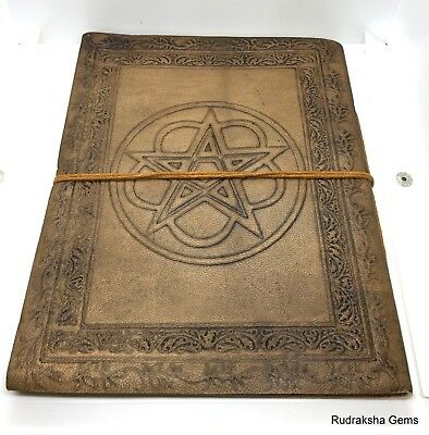 Book Of Shadows Leather Pentagram 20 cm High 64 Pages Journal Diary Nemesis Now