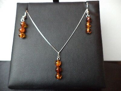 Certified Baltic Amber 925 Sterling Silver NECKLACE & EARRINGS Mother's Day Gift