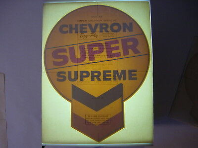 Vintage NOS Orig. Super Chevron Supreme Gasoline Pump Water Transfer Decal Sign