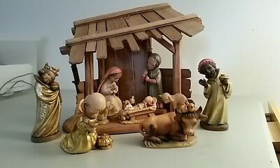 "Anri Italy 6"" Nativity Set, and Manger with boxes"