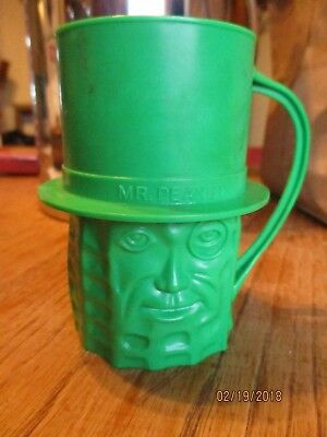 "Vintage Planter's Mr. Peanut ""Green"" Plastic Drinking Cup"