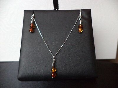 Cognac Baltic Amber 925 Sterling Silver NECKLACE chain EARRINGS Mothers Day GIFT