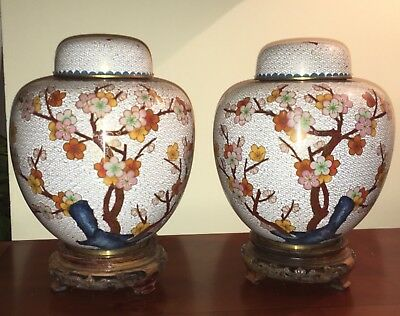 JINGFA - CHINESE GINGER JARS pair VERY LARGE 9.5' PRUNUS - MATCHED - with STANDS
