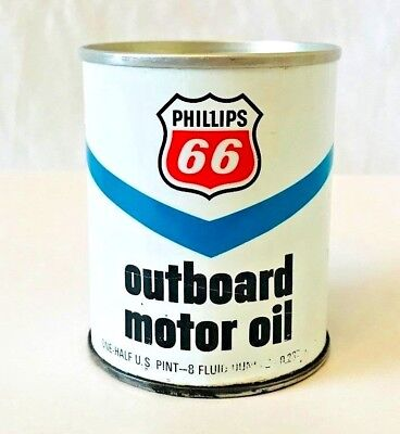 Vintage 1977 Phillips 66 Outboard Motor Oil Can All Metal Near Mint and Sealed