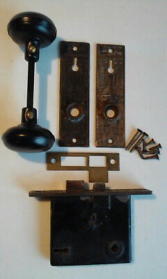 Antique Star Mortise Lock Black Steel Door Knob Set Key Plates #465A Corbin