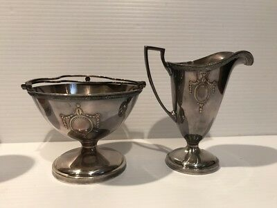 Vtg Sheffield Reproduction Silver Plate Cream Pitcher # 660 And Open Sugar