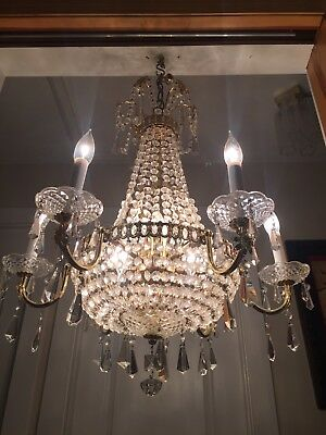Antique Vintage French Empire Crystal Beaded Basket Chandelier 6 arm 12 lights