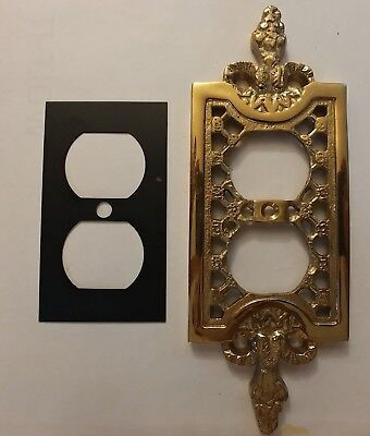 Vintage Electrical Outlet Cover, Solid Brass - Ornate (NOS)