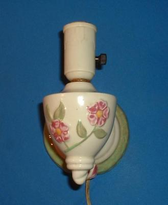 Vintage USA Pottery Wall Light Sconce Electric Light Bulb