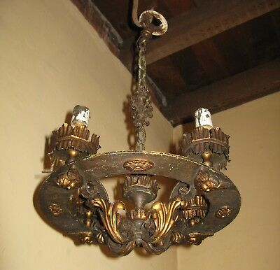 Antique Victorian Gothic Style Iron Hanging Lamp Angels Chandelier