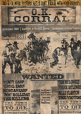 Ok Corral Wanted Poster Tombstone Holliday Earp Wyatt Ok Corral Sheriff Western