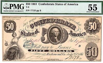 T-8 PF-2 $50 Confederate Paper Money 1861 - PMG About Uncirculated 55!!