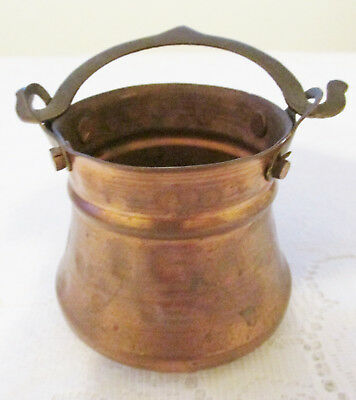 Vintage Small Hammered Copper Cauldron Pot w/ Brass Handle