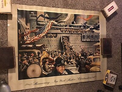 """Original 1944 Stevan Dohanos Homecoming WW2 Poster For Esquire Large 40"""" By 53"""""""