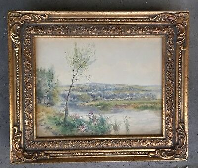 Antique or Vintage Watercolor painting plein air landscape English?