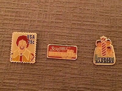 Mcdonalds Pins Ronald as 25 cent stamp , Three Barbers and Scrabble Older pins