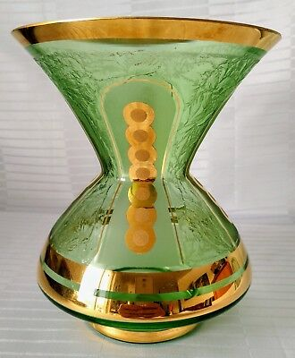 Rare 1930's Art Deco Green & Gold Vase Hand Painted Boom Glass Belgium Gorgeous