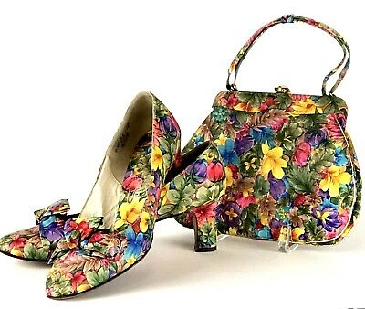 Vintage John Jerro Matching Shoes Purse Size 6.5B Floral Tropical Pumps Handbag