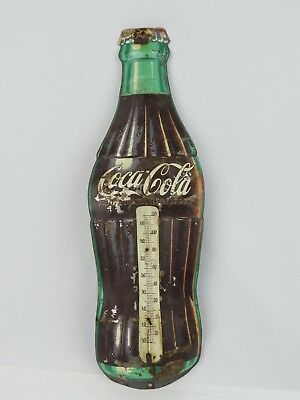 "Vintage Coca-Cola Metal Thermometer 16.25"" Robertson USA Sign No Glass Tube"
