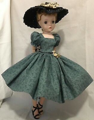Vintage cotton day dress and hat made for Mme Alexander Cissy doll