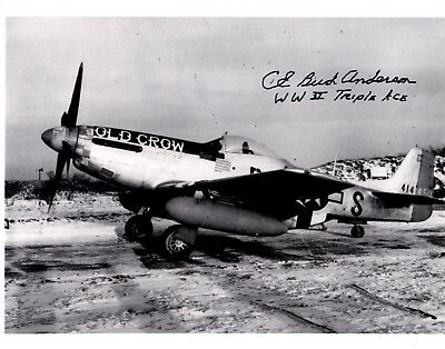 World War 2 P-51 Mustang Triple Ace CE Bud Anderson Autographed Photograph!