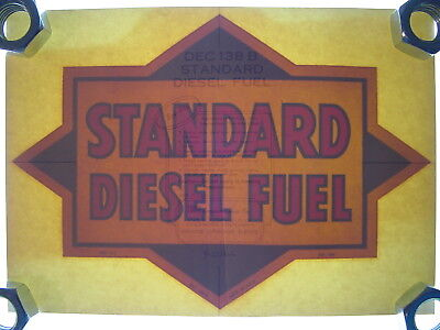 "Vintage NOS Original Standard Diesel Fuel Gas Pump 11"" Water Transfer Decal Sign"