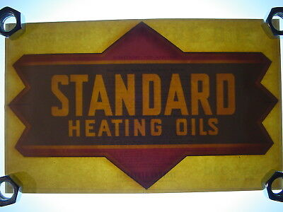"Vintage NOS Original Standard Heating Oil Gas Pump 14"" Water Transfer Decal Sign"