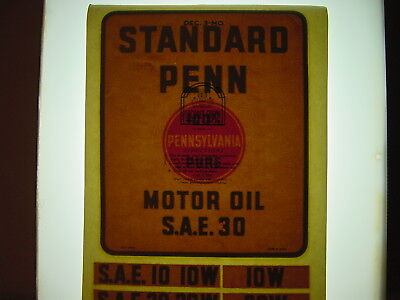 "Vintage NOS Original Standard Penn Motor Oil 8x9"" Water Transfer Decal Sign"