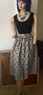 Vintage 80s Mischief skirt. Button front polka dot skirt.All cotton.Size 10/S