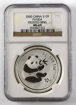 2000 China Silver S10Y Panda Frosted Ring - NGC MS 69 NO RESERVE 11